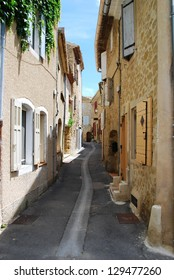 Small alley and stone houses, Lourmarin village, Vaucluse, Provence, France