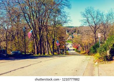 Small American Town in Fall