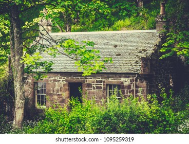 A Small Ancient Cottage Or House Hidden In The Woods