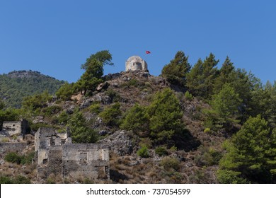 Small Ancient Stone Church in Kayakoy Ghost Town near Fethiye in Turkey.
