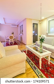 Small apartment interior, new and clean, modern design.