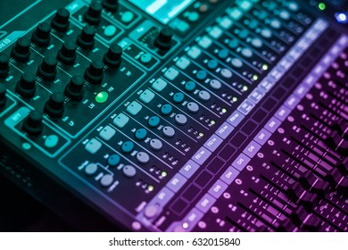 """small aperture effect. audio, a mixing console is an electronic device for combining (also called """"mixing""""), routing, and changing the volume level, timbre (tone color)"""