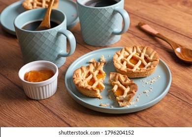 small apricot jam tarts for breakfast - closeup