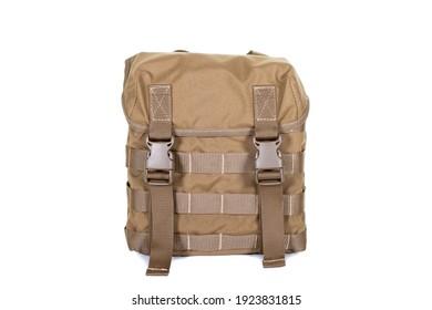 small army combat rucksack isolated white background, studio shot
