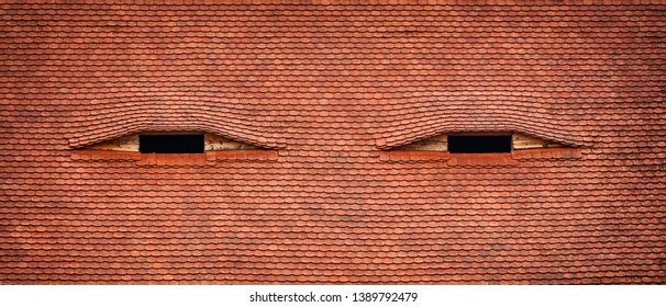 Small attic windows looks like eyes - famous architectural detail in old city Sibiu in Transylvania, Romania, Europe