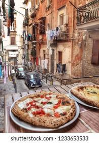 Small Authentic Neapolitan Street and Pizza in Italian Trattoria