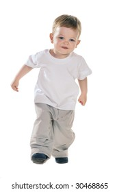 small baby boy in t-shirt over white
