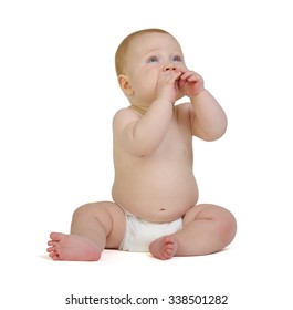 The small baby isolated on white background