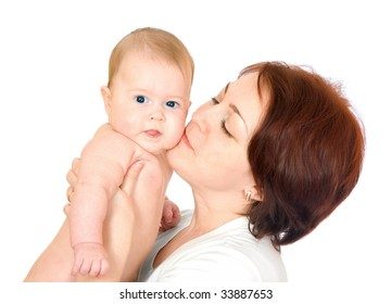 Small baby with mother