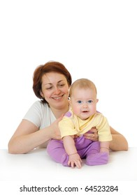 Small baby with mother isolated