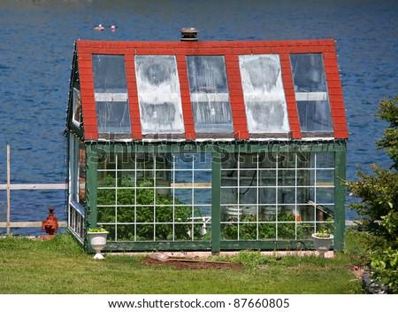 Small Backyard Greenhouse Overlooking Ocean Stock Photo Edit Now