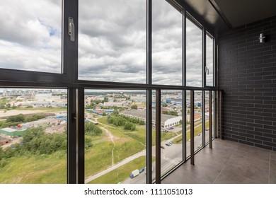 Small balcony interior in modern apartment building