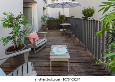 Small balcony in middle of apartment complex
