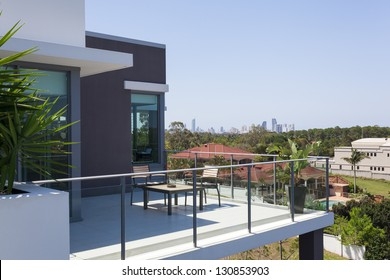 Small balcony overlooking the city
