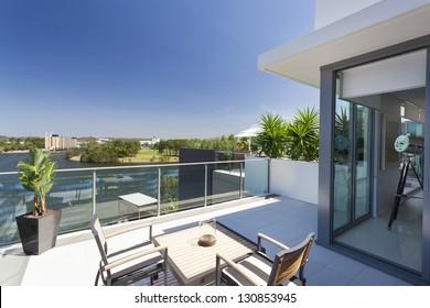 Small balcony overlooking the suburbs