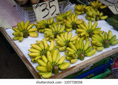 Small bananas for sale on street market