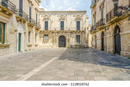 Small baroque square with beautiful architecture in central Lecce, Salento, Apulia, Italy