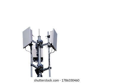 Small Base Station or Base Transceiver Station 5G radio network telecommunication equipment with radio modules and smart antennas mounted on a metal isolated on white background.