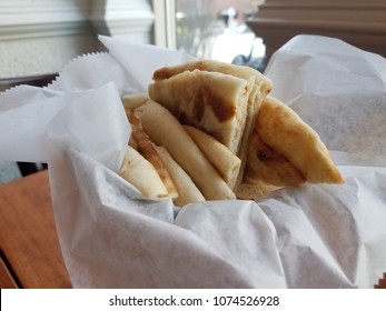 small basket of pita bread