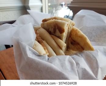 small basket of pita bread