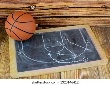 A small basketball and a chalkboard showing a classic pick and roll play, all on a wooden background