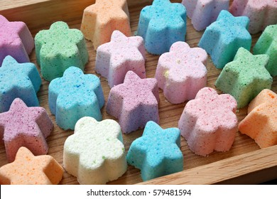 Small bath bomb, Beauty products for body care, Making bath bomb, close up, star, flower