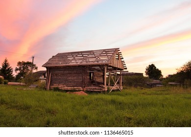 Small bath house on the hill at the sunset time