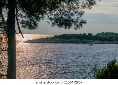 Small bay at Adriatic See near Banjole (Pula, Croatia) at sunset