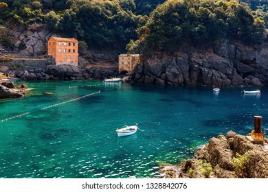 Small bay among rocks at San Fruttuoso, Liguria, Italy.