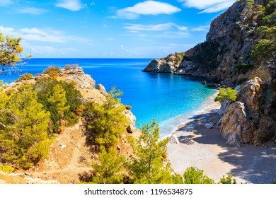 Small bay at beautiful Apella beach on Karpathos island, Greece