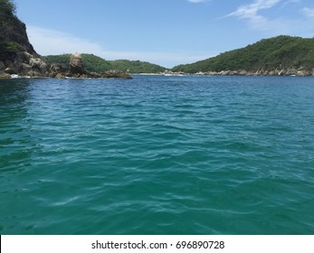 Small bay in Huatulco Oaxaca, with turquoise water