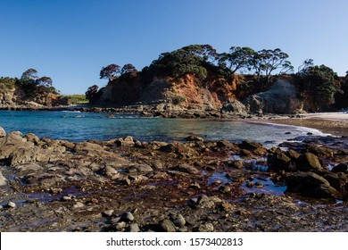 Small bays at the end of the Tawharanui Regional Park and Peninsula, on the east coast of New Zealand. White sand beaches with orange clay cliffs, native pohutukawa trees, calm blue sea and skies.