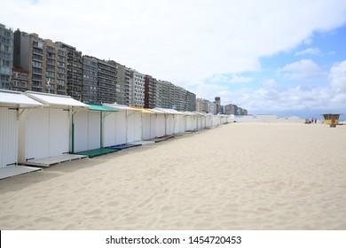 Small beach cabins in Blankenberge, Flanders, Belgium