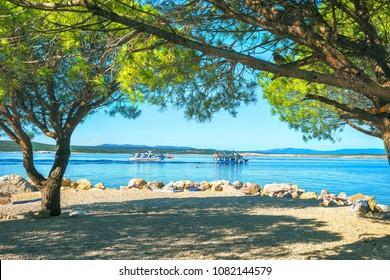 Small beach in Crikvenica town. Kvarner bay, Croatia