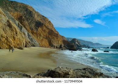 A small beach in the northern end of Point Reyes National Seashore, Marin, CA.  The beach can be reached by walking about a half mile down a dirt path.  This photo was taken from atop Elephant Rock.