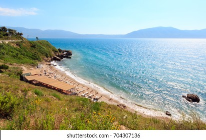 Small beach on beautiful summer Adriatic Sea  Vlore coast, Albania.