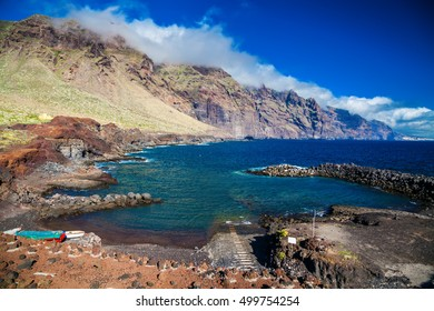 the small beach Playa Punta De Teno at the Rural Park in Tenerife, Canary Islands, Spain