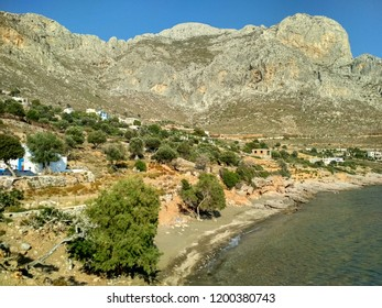 Small Beach in Skalia Village in Kalymnos Island.The first beach is called Saint Nicolas Beach and the other one in the background is called Plaka.Both are not very crownded during summer period.