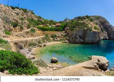 Small beautiful beach at archaeological site of Heraion, sanctuary of goddess Hera, in Perachora, Loutraki, Greece