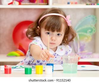 Small beautiful girl draws