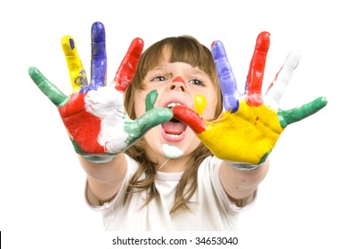 The small beautiful girl has stretched to a camera of a palm soiled in a paint of different colors, Shout , closeup, on white background.