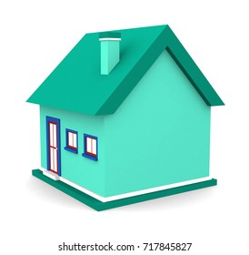 A small beautiful home isolated on white background. 3d illustration