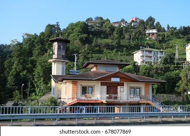Small and beautiful mosque in Turkey. Mosque on the mountain slope in Black Sea