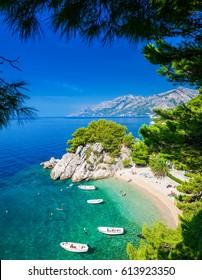the small beautiful Podrace beach in Brela through pine trees, Makarska Riviera, Croatia