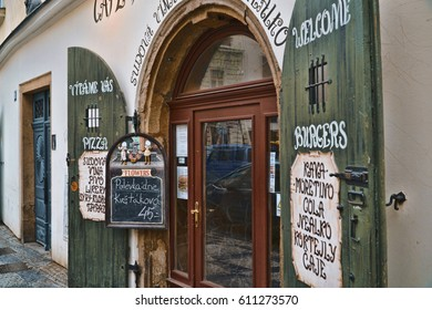 Small and beautiful restaurant and cafe in Prague - PRAGUE / CZECH REPUBLIC - MARCH 19, 2017