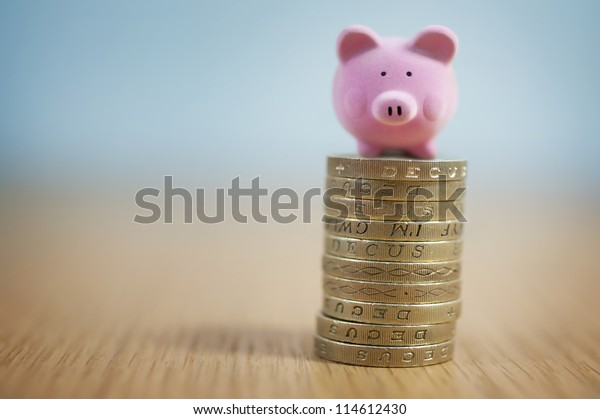 Small Beginnings - Micro Piggy Bank on top of coins. Money concept.
