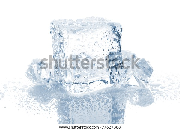 Small Big Ice Cube Water Drops Stock Photo Edit Now 97627388