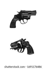 Small black gun revolver isolate on white background. Pocket pistol for self-defense. Ladies' revolver. Spy Weapon.