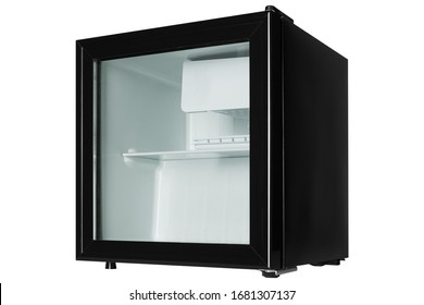 small black refrigerator with a glass door, the door is closed, on a white background, side view, isolate