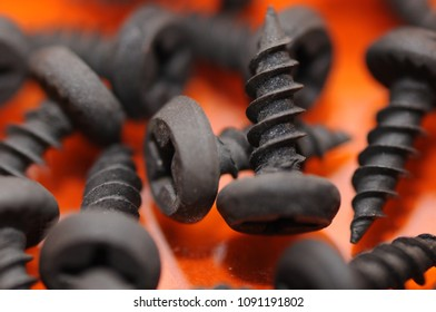 Small black screws on a red background close-up.